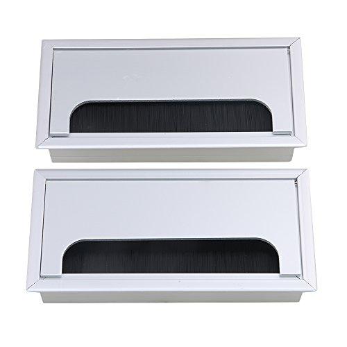 bqlzr-Aluminium Tisch Schreibtisch Rechteck Draht Kabel-Tülle Loch Outlet Port mit Bürste schwarz 2Stück -