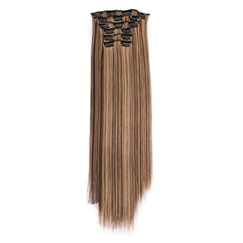 Mypace Lange Glatte Haare Perücke Für Frauen Echt wie Remy Mode Haar Lange Clip in Haarverlängerungen Voller Kopf Gerade Perücke Clips 6 Sätze von Steckdosen (G) -