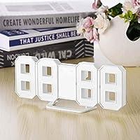 Multi-use 8 Geformte LED-Anzeige Tischplatten-Digital-Tischuhr-Thermometer-Hygrometer-Kalender-Wetterstation-Vorhersage-Uhr, weiß