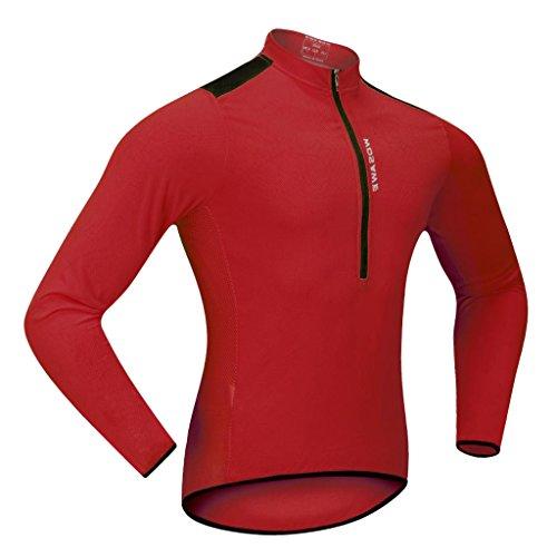 Sharplace Herren Radsport Funktionsshirt Reißverschluss Cycling Jersey Radtrikot Trikot Shirt Fahrradbekleidung Fahrradtrikot Langarmshirt - Rot, M