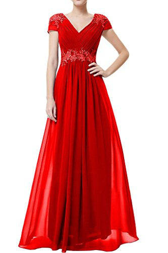 Missdressy Schick Chiffon Lang Spitze V-Ausschnitt Reissverschluss Abendkleid Ballkleid Festkleid Promkleid Rot
