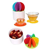 shuhong Coasters 6 Pcs Set Silicone Cactus Bonsai Shape Tea Coffee Cup Mug Mats Prickly Pear Heat Insulation Anti-Slip Pads Perfect To Home Office Table Funny Gift,Colorful