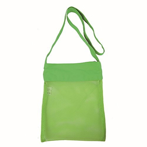 H & K mesh Beach Tote bag bambini giocattoli Sea Shell raccogliere verdura vestiti shopping bag tracolla regolabile, Tessuto, Blue, taglia unica Green