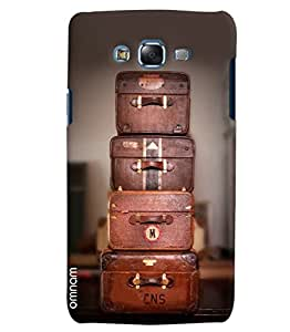 Omnam Old Travel Brown Bags Lying On Each Other Printed Designer Back Cover Case For Samsung Galaxy J7
