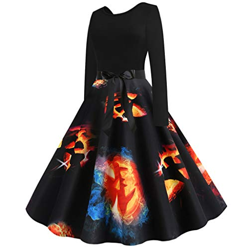 MasteriOne Damen Halloween Rundhalsausschnitt Langärmliges Kleid Casual Swing Kleid Partykleid A-line Knielang Herbst Kleid Retro-Look Abendkleid Kürbis bedruckter Sexy