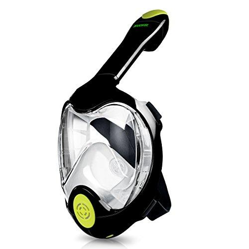 KUOKEL - Tauchmaske Vollgesicht Schnorchel Maske (mit 180 Grad Panorama, Anti-Fog Anti-Leck, mit Gopro Kamera Halterung, Taucherbrille für Erwachsene und Kinder) (schwarz, S/M)