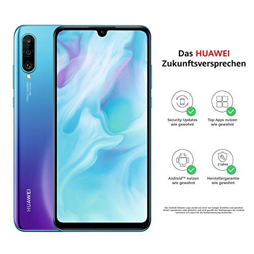 Huawei P30 lite Dual-SIM Smartphone Bundle (6,15 Zoll, 128 GB ROM, 4 GB RAM, Android 9.0) Peacock Blue + SD Karte [Exklusiv bei Amazon] - DE Version
