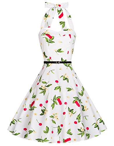Zarlena Damen 50er Retro Rockabilly Pola Dots Petticoat Neckholder Kleid weiß/Kirschenmuster X-Small DROD-WHT-CRY-XS
