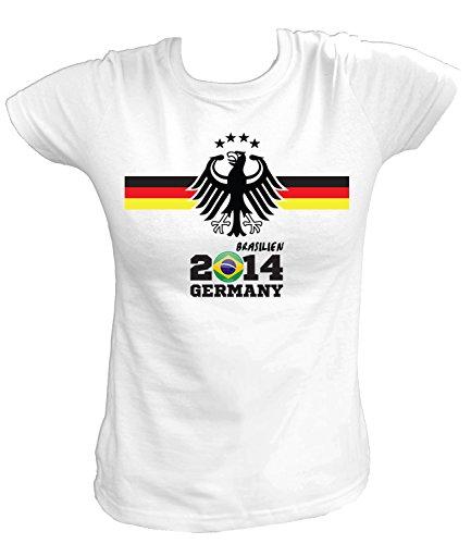 Artdiktat Damen Deutschland Fan T-Shirt - Fussball EM 2016 / Brasilien 2014 Germany - inkl. Wunschname und Nummer Größe S, weiß