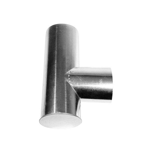 ie (T-Stück aus feueraluminiertem Stahl, rostfreies Rauchrohr als Verbindung zwischen Ofenrohren, geprüft nach Norm EN 1856-2, Maße: ca. Ø 130/130 x L 330 mm) silber (Kleider Mit Rosetten)