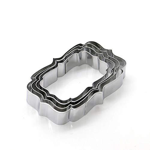 Qinlee Edelstahl Ausstecher Set Fondant Keks Spitze Rahmen Zuckerguss Ausstecherform Plätzchen Tortendekoration Keksausstecher Ausstechformen