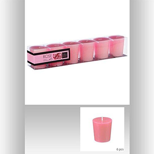 Bougies votives parfumées x6 rose pbtr
