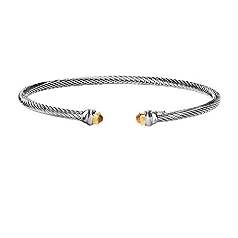 Sterling Silber Rhodium 18 ct Gelb Gold 3 mm Twisted Tube Cuff Armreif 0,30 ct 3 mm Citrin Armband