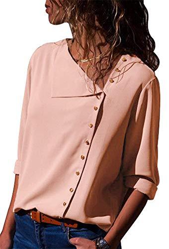 Aranmei donna camicetta blusa chiffon elegante camicia maniche lunghe chiusura a bottoni con scollo v asimmetrico