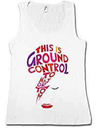 Major Tom J Mujer Camiseta Sin Mangas Tank Top - Ziggy David Ground Control Bowie Music Stardust Tamaños S - XL