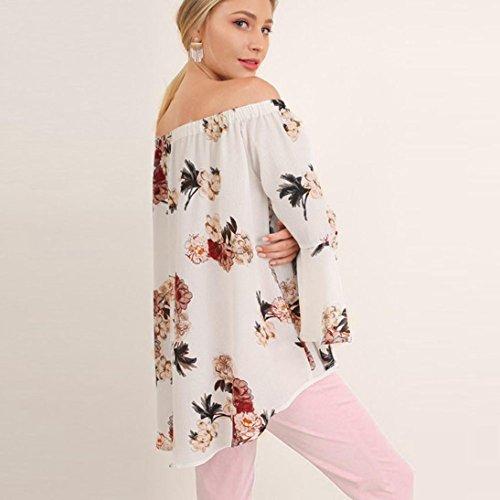 OverDose Langarm Shirt Frauen aus Schulter Blumen gedruckt Langarm Shirt Lose Bluse Tops Pulli T-Shirt Weiß