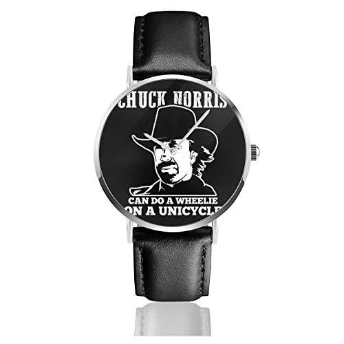 Unisex Business Casual Chuck Norris Can Do Wheelies On A Einrad Uhren Quarz Leder Uhr mit schwarzem Lederband für Männer Frauen Young Collection Geschenk