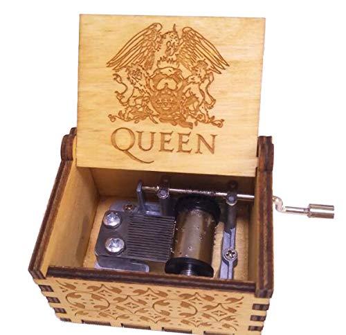 Cuzit Greatest Hits Queen - Caja de mš²Sica de Madera, Dise?o Antiguo Tallado