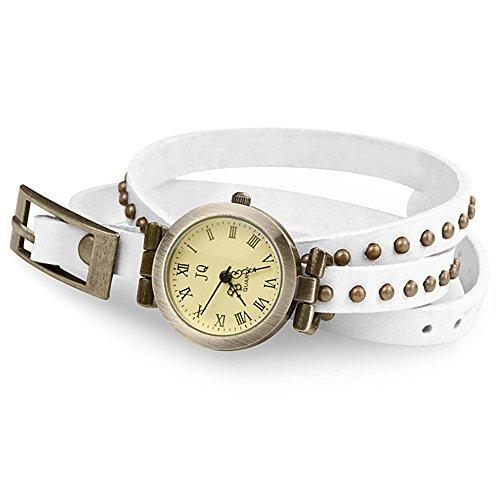 Taffstyle Vintage Damen-Armbanduhr Wickeluhr Leder Analog Vintage Designer Retro Look Uhr Wickelarmband Weiß Gold