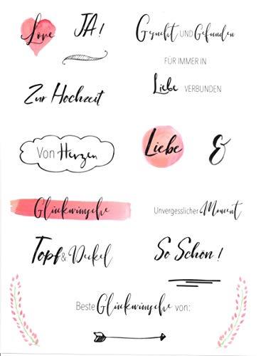Hochzeits Sticker (Watercolors & Handlettering Design)   133 Stück - 2