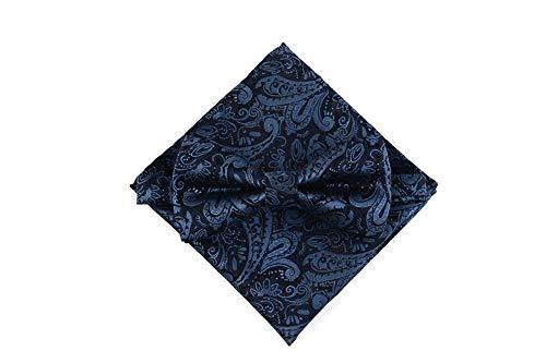 LILILICX Fliege Herren Hochzeit Groomsmen Anzug Anzug Fliege Tasche Handtuch Set Weinrot Schwarz Muster, Blau -