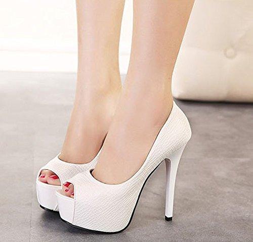 Kphy-otoño Nuevo Ultra Thin Heel Only Zapatos Sexy Night Shop 14cm Boca Impermeable Zapatos De Pescado Zapatos Profesionales Blanco