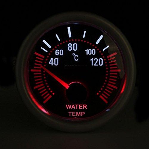 Grau Shell 52mm Universal-12V LED Smoke Len 40~120 Grad Wassertemperatur Messgerät Meter Auto-Messinstrument 120-grad-auto