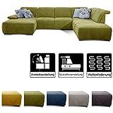 CAVADORE Wohnlandschaft Tabagos / U-Form mit Ottomane rechts / XXL Sofa mit Sitztiefenverstellung /...
