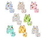 Fareto New Born Baby Boy's & Baby Girls 8 Front Open Jhabla with 8 Cloth Single Layer Nappies(0-6 Months, Multicolored)