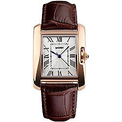 unique, café montre à quartz brun pour les femmes bracelet en cuir chiffres romains or rose montre gracieuse