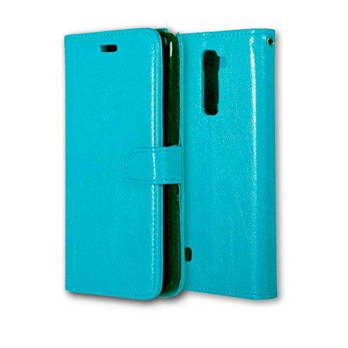 YHUISEN Solid Color Premium-PU-Leder-Mappen-Magnetic Buckle Design-Flip Folio Case Schutzhülle mit Kartensteckplatz / Stand für LG Stylus 2 / LG G Stylo 2 ( Color : White , Size : LG Stylus 2 ) Blue