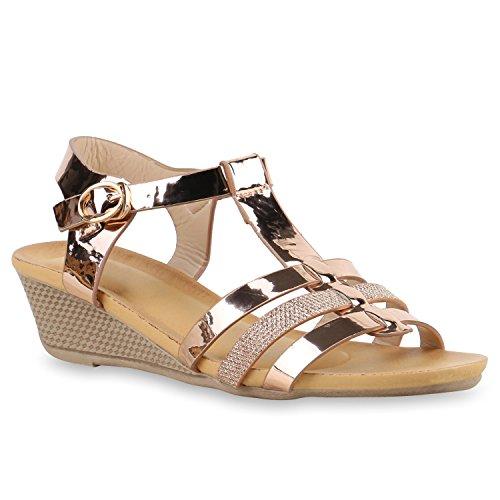 Bequeme Damen Sandaletten Keilabsatz Strass Spitze Wedges Schuhe Rose Gold Lack