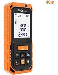Tacklife S2-40 Professionnel Télémètre Laser Numérique Antichoc /Mesure Automatique Verticale et Horizontale /Calcule Surface et Volume /3 Mode de Pythagore