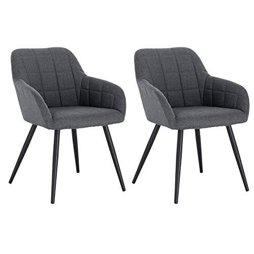 WOLTU® Esszimmerstühle BH107dgr-2 2er Set Küchenstuhl Polsterstuhl Wohnzimmerstuhl Sessel mit Armlehne, Sitzfläche aus Leinen, Metallbeine, Dunkelgrau