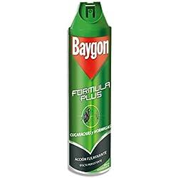 Baygon Formula Plus - Spray Insecticida especial para Cucarachas y Hormigas, Aerosol, 2 x 600 ml