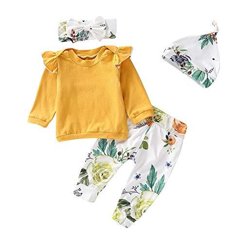 4 STÜCKE Kleinkind Baby Mädchen Bekleidungssets Mode Langarmshirt Blumendruck Top Hosen Cap Stirnband Rüschen Outfits Set 6-24M ()