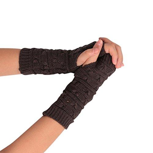 TWIFER Mode Damen Gestrickt Arm fingerlose Winter Weichen Warmen Handschuhen Armstulpen (20cm, Dunkelgrau)