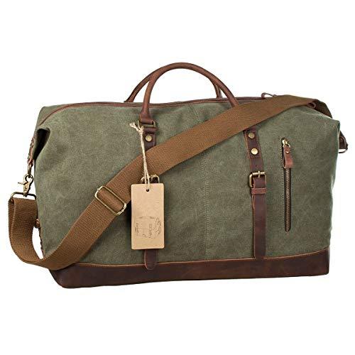 SHS Segeltuch Reisetasche,Vintage Canvas Handgepäck Tasche für Damen Herren,Urlaub Weekender Tasche Travel Bags Reise Duffel Bag mit der Großen Kapazität (Armee grün)