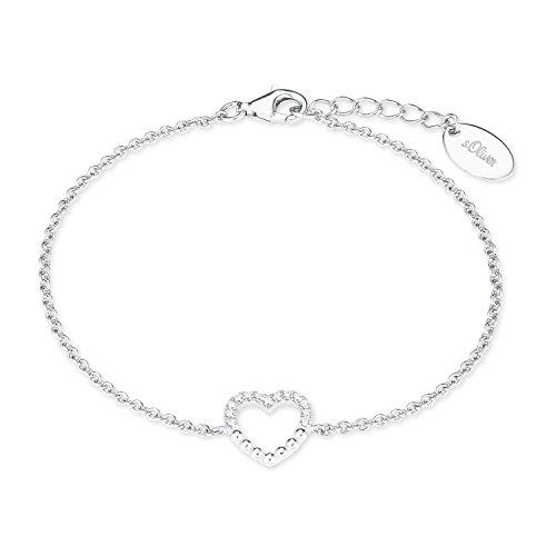 s.Oliver Damen Armkette mit Herz-Anhänger Sterling Silber 925 Zirkonia (synth.) rhodiniert 17+3cm