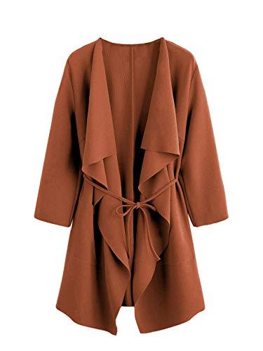 ROMWE Damen Leicht Mantel mit Wasserfallkragen Kordel Tasche Locker Knielang Outwear Jacke Rostbraun M