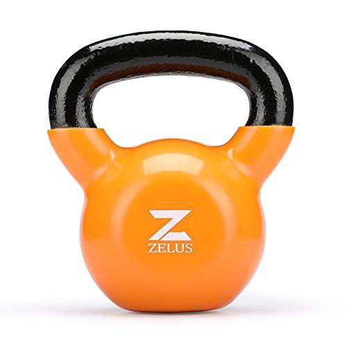 ZELUS Kettlebell Kugelhantel Schwunghantel aus Gusseisen mit Vinylbeschichtung ideal für Krafttraining Heimtraining 12kg orange