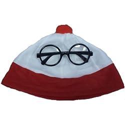 Cappello rosso e bianco e occhiali da nerd, tema Dov'è Wally? Costume in maschera, ideale per la settimana del libro