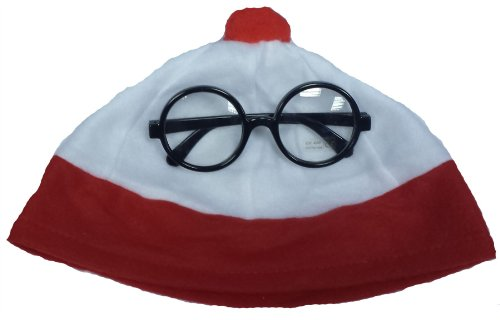 Red White Nerd bobble Hat and Glasse Wheres? Geek Fancy Dress Book (Hats Nerd)