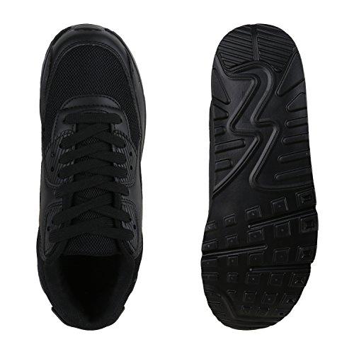 Damen Sportschuhe Trendfarben Laufschuhe Sneakers Runners Schwarz