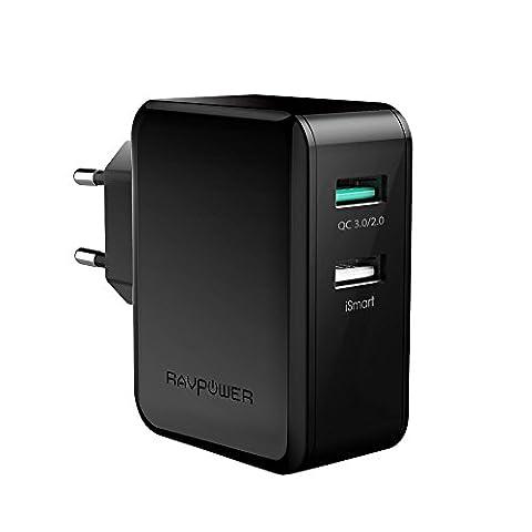 [Garantie à Vie] RAVPower Quick Charge 3.0 30W Chargeur Secteur USB 2-Port USB Adaptateur Secteur USB Mural avec QC 3.0 Recharge Jusqu'à 4x Plus Rapide - Rétrocompatible avec les appareils Quick Charge 2.0 -