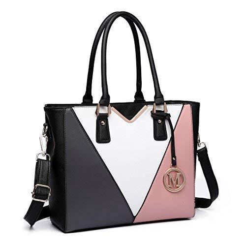 Miss Lulu Leather Look V Shape Multicolour Tote Handbag (Black/White/Nude)