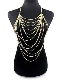 LUREME Collar de la Borla de la Cadena del Cuerpo Atractivo de múltiples Capas con la Fiesta de Playa de la joyería del Rhinestone del Cuerpo (bc000033)