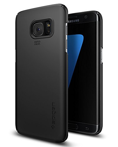 Custodia galaxy s7 edge, spigen [protezione 360°] thin fit [black] **rivestimento soft-feel** [cover sottile & robusto] custodia samsung galaxy s7 edge, cover galaxy s7 edge (556cs20029)