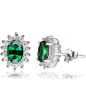 Jewelrypalace 2.5ct Prinzessin Diana Grün Simulierte Nano Russischen Smaragd Ohrringe Ohrstecker 925 Sterlingsilber...