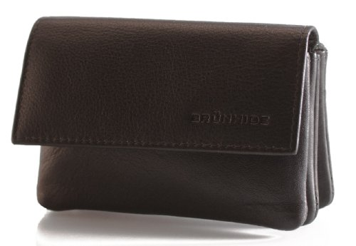 - 41mA 2B3 XcKL - Brunhide Genuine Womens Small Leather Coin Purse # 206-300 – Black